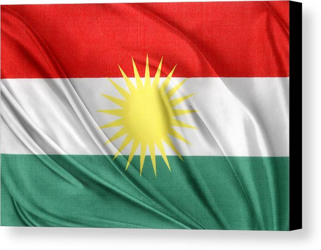 Kurdistan Flag Canvas Print featuring the photograph Kurdistan Flag by Les Cunliffe