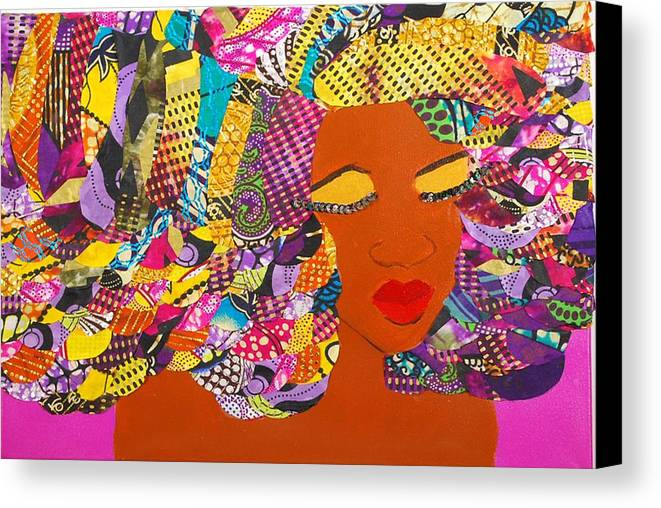 Afro Art Canvas Print featuring the tapestry - textile Lady J by Apanaki Temitayo M