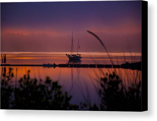 Penn Cove Canvas Print featuring the photograph Lifting Morning Fog by Ron Roberts