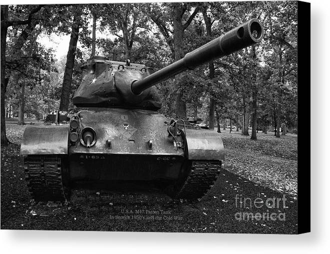 Tank Canvas Print featuring the photograph M47 Patton Tank by Thomas Woolworth