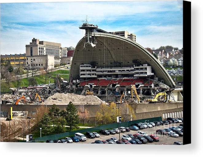 Bulldozers Canvas Print featuring the photograph Mellon Arena Partially Deconstructed by Amy Cicconi