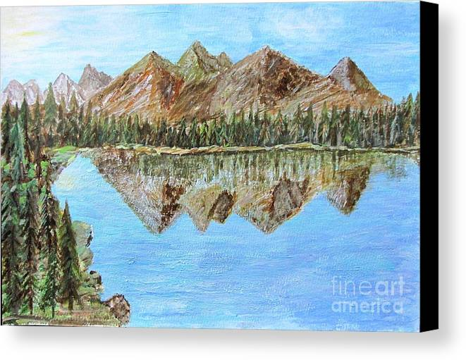 Landscape Canvas Print featuring the painting Mountain Lake by Yana Volodina