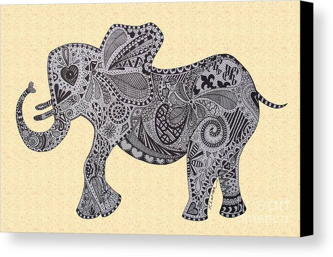 Birds Canvas Print featuring the drawing Nelly The Elephant Sprinkles by Karen Larter