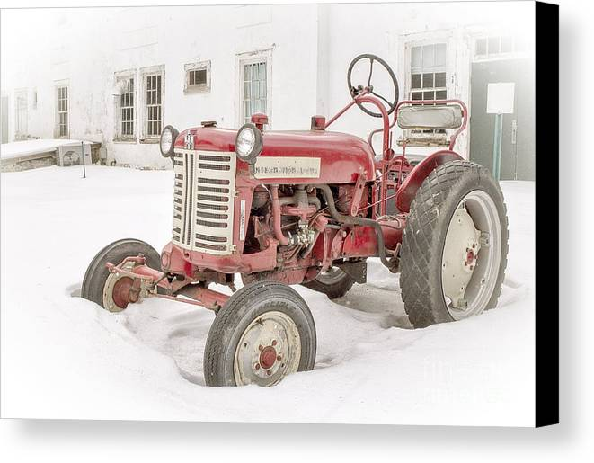 House Canvas Print featuring the photograph Old Red Tractor In The Snow by Edward Fielding