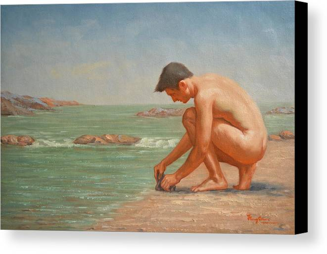 Original Canvas Print featuring the painting Original Oil Painting Man Body Art Male Nude By The Sea#16-2-5-42 by Hongtao   Huang