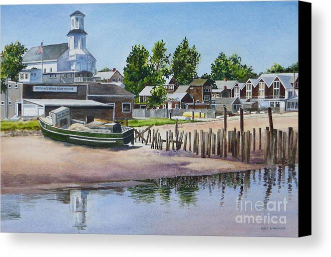 Church Canvas Print featuring the painting P' Town Boat Works by Karol Wyckoff