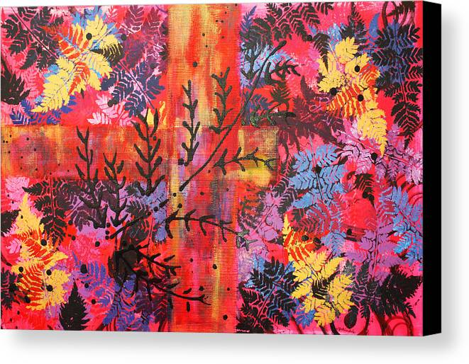 Pink Canvas Print featuring the painting Pink Fern by Jenny Kimble