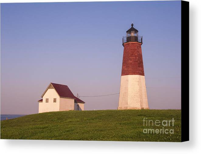 Architecture Canvas Print featuring the photograph Point Judith Lighthouse by Juli Scalzi