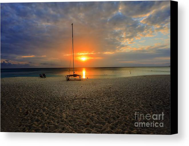 Crystal Blue Water Canvas Print featuring the photograph powder-white sand of Seven Mile Beach by Dan Friend