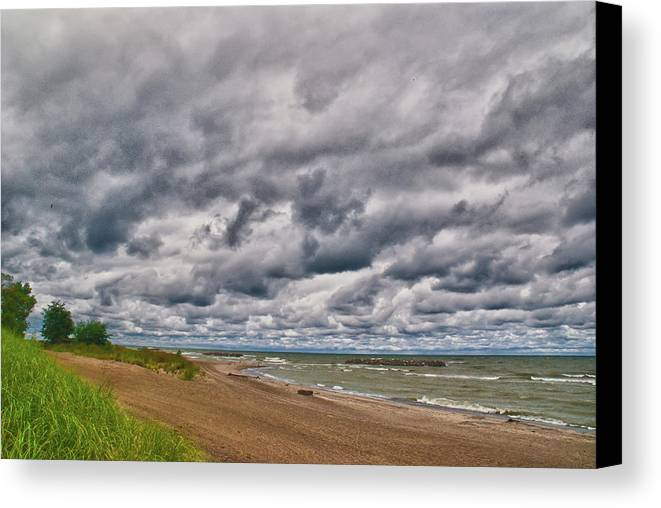 Landscape Canvas Print featuring the photograph Presque Isle Beach 12061 by Guy Whiteley