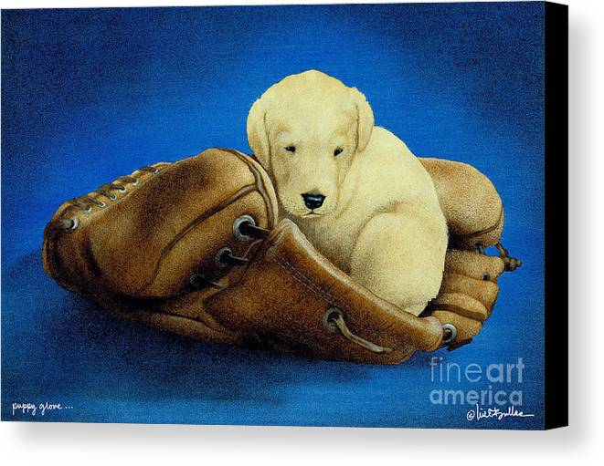 Will Bullas Canvas Print featuring the painting Puppy Glove... by Will Bullas