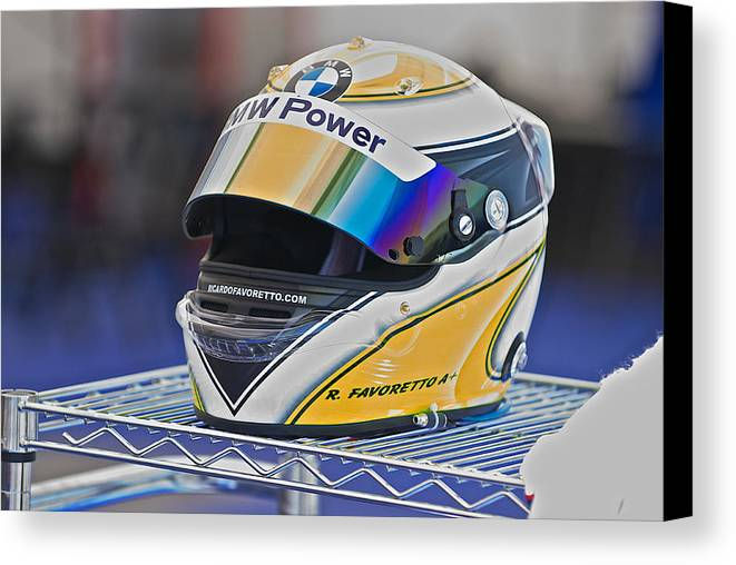 Auto Canvas Print featuring the photograph Racing Helmet 2 by Dave Koontz