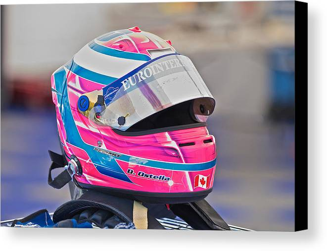 Auto Canvas Print featuring the photograph Racing Helmet 3 by Dave Koontz