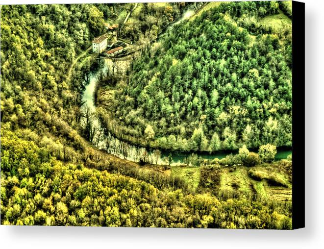 Aerial Canvas Print featuring the photograph River Bend by Martin Joyful