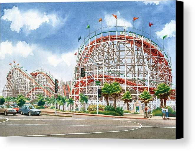 Mission Beach Canvas Print featuring the painting Roller Coaster Mission Beach by Mary Helmreich