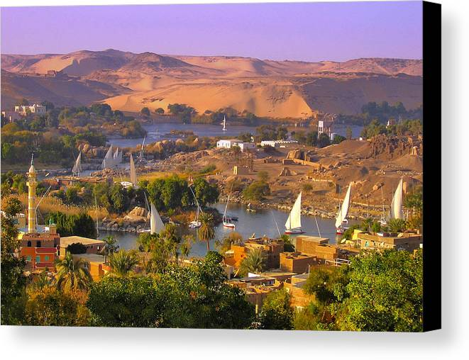 Felucca Canvas Print featuring the photograph Sailing The Nile by Jim Southwell