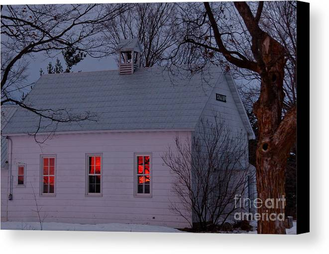 Sunset Sky Canvas Print featuring the photograph School House Sunset by Cheryl Baxter
