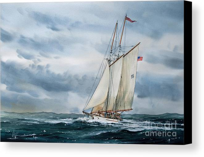 Tall Ship Print Canvas Print featuring the painting Schooner Adventuress by James Williamson