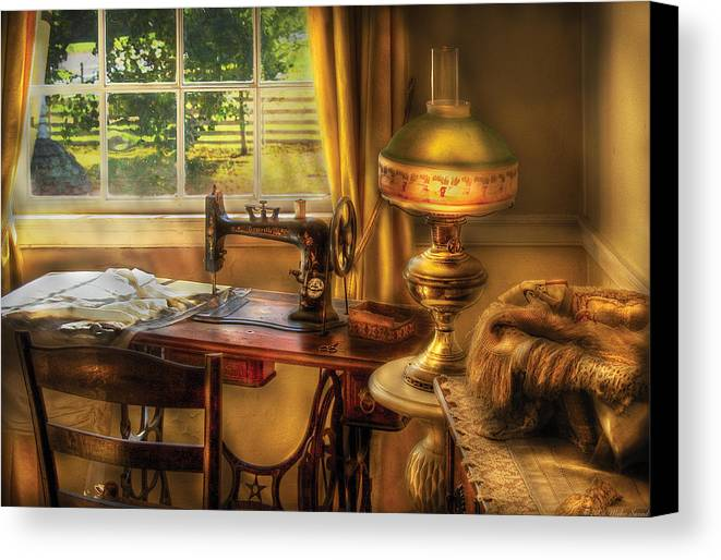 Savad Canvas Print featuring the photograph Sewing Machine - Domestic Sewing Machine by Mike Savad