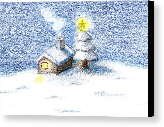 Silent Night Canvas Print featuring the drawing Silent Night by Keiko Katsuta