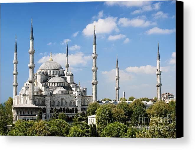 Architecture Canvas Print featuring the photograph Sultan Ahmed Mosque Landmark In Istanbul Turkey by Jacek Malipan