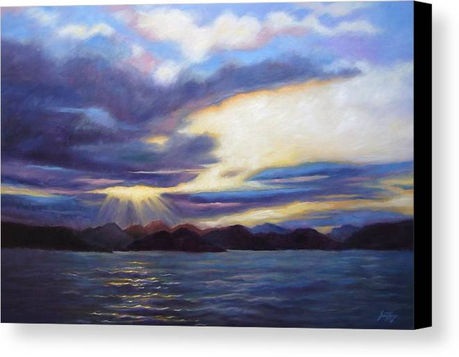Sunset Canvas Print featuring the painting Sunset In Norway by Janet King