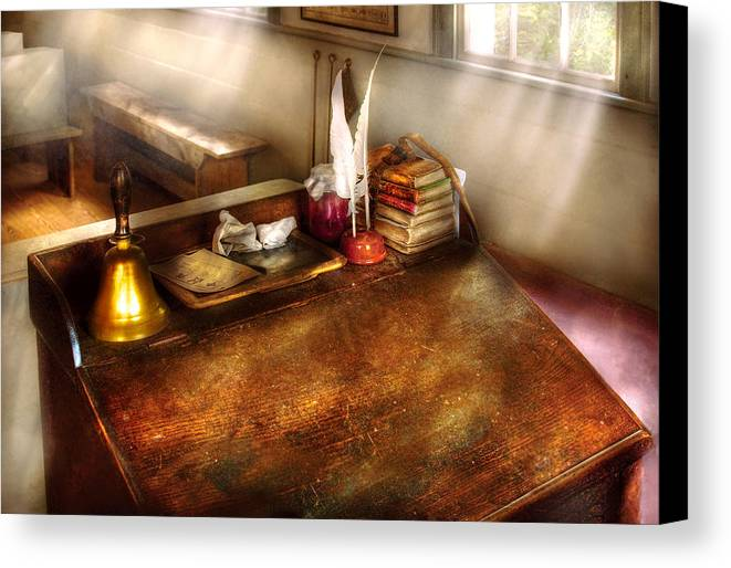 Savad Canvas Print featuring the photograph Teacher - The School Room by Mike Savad