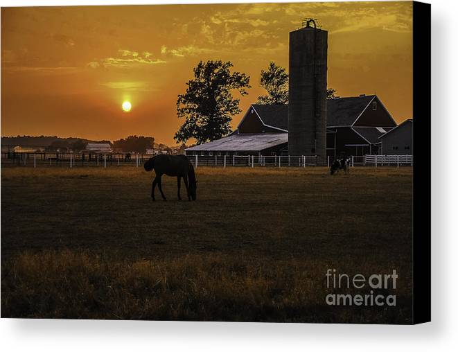 M.c. Story Canvas Print featuring the photograph The Beauty Of A Rural Sunset by Mary Carol Story