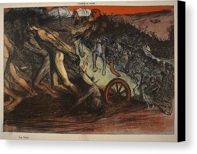 La Sue Canvas Print featuring the drawing The Burden Of Taxation, Illustration by Eugene Cadel