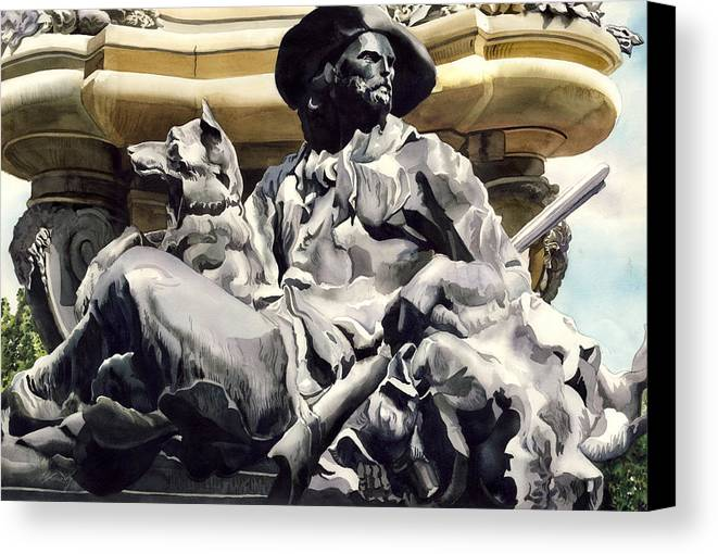 Sculpture Canvas Print featuring the painting The Colorado Settler by Alfred Ng