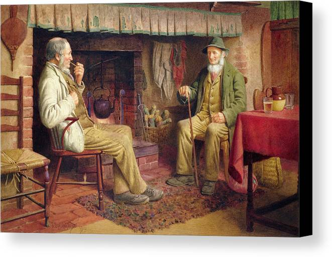 Old Man Canvas Print featuring the painting The Gossip by Henry Spernon Tozer