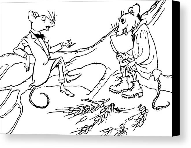 Mouse Canvas Print featuring the drawing The Town Mouse And The Country Mouse by Arthur Rackham
