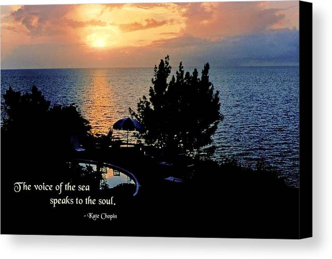 Quotation Canvas Print featuring the photograph The Voice Of The Sea by Mike Flynn