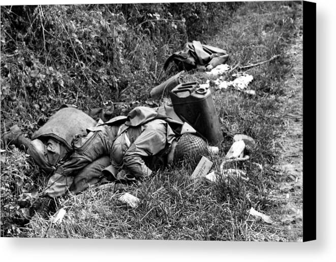 History Canvas Print featuring the photograph Three Dead U.s. Airborne Troops by Everett