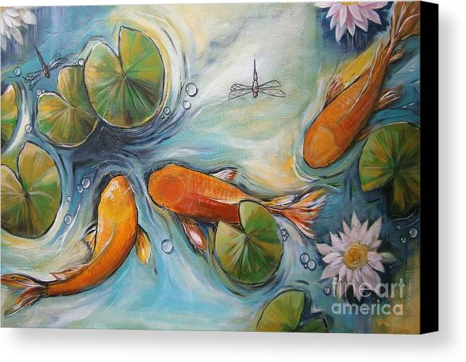 Koi Pond Canvas Print featuring the painting Three Koi Fishes - The Search by Soma Mandal Datta