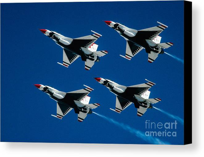 U.s. Air Force Thunderbirds Canvas Print featuring the photograph Thunderbirds by Larry Miller