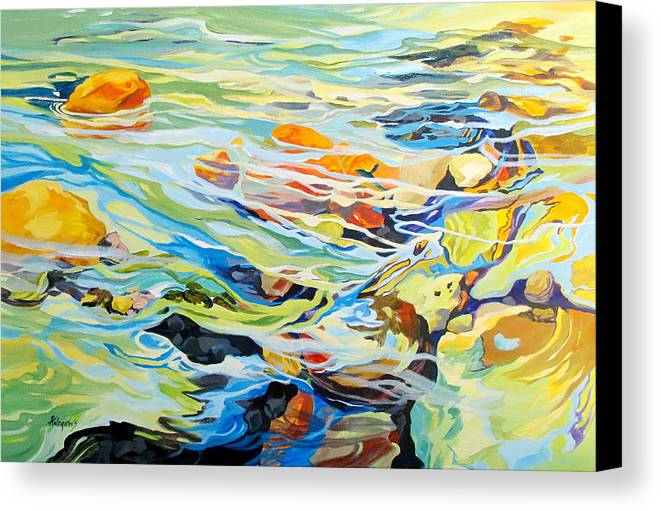 Water Canvas Print featuring the painting Tidepool 2 by Rae Andrews
