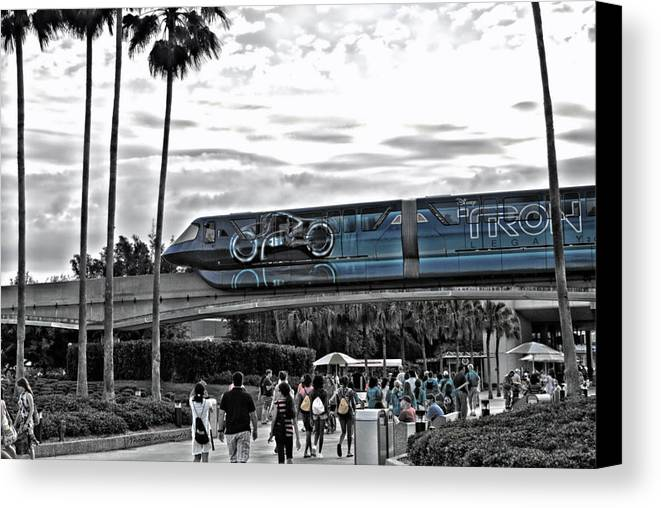 Tron Canvas Print featuring the photograph Tron Monorail Wdw In Sc by Thomas Woolworth