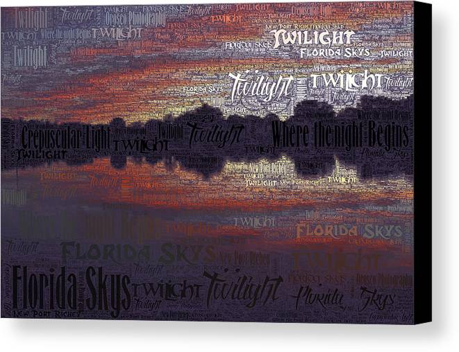 New Port Richey Canvas Print featuring the photograph Twilight In Pasco by G Adam Orosco