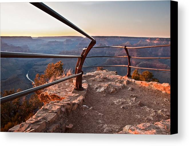 Arizona Canvas Print featuring the photograph Weathered Rail by Jerry Williamson