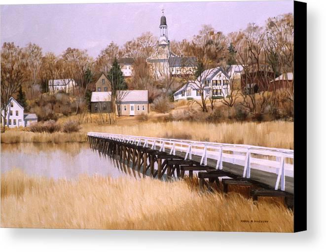 Village Canvas Print featuring the painting Wellfleet Golden Morn by Karol Wyckoff