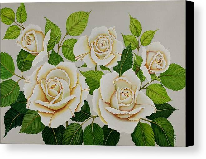Rose Canvas Print featuring the painting White Roses by Carol Sabo