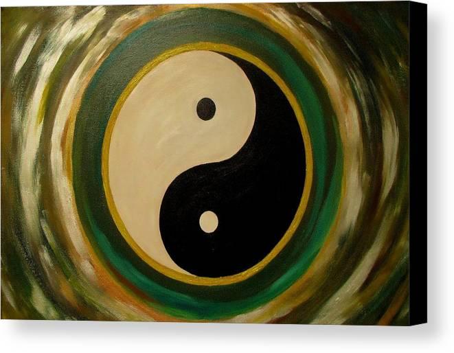 Yin And Yang Canvas Print featuring the painting Yin And Yang 1 by Madhusudan Kawa
