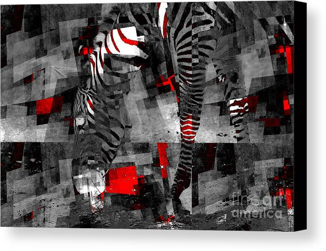 Black Canvas Print featuring the photograph Zebra Art - 56a by Variance Collections