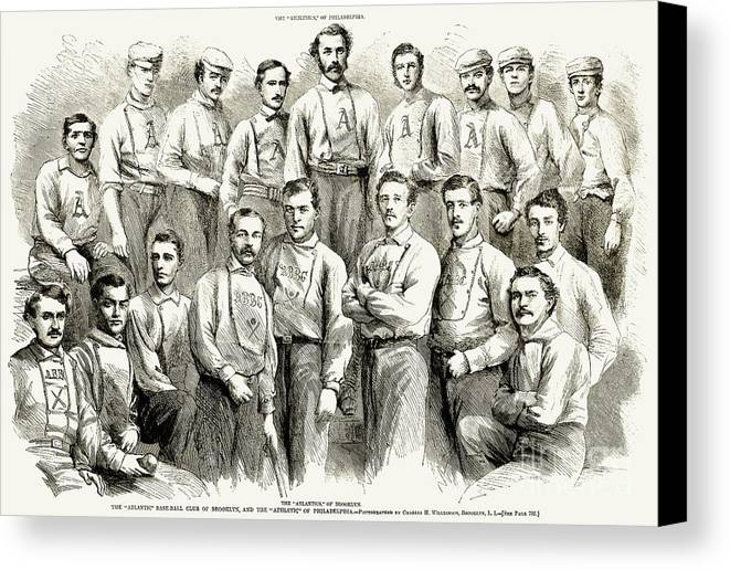 1866 Canvas Print featuring the photograph Baseball Teams, 1866 by Granger