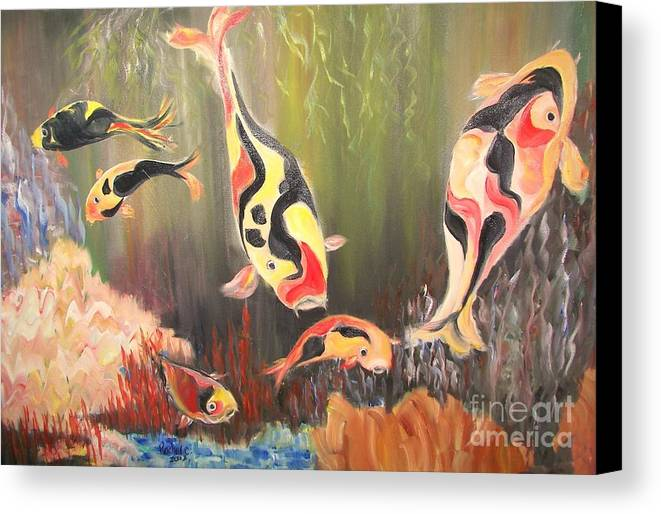 Fish Canvas Print featuring the painting A School Of Koi by Rachel Carmichael