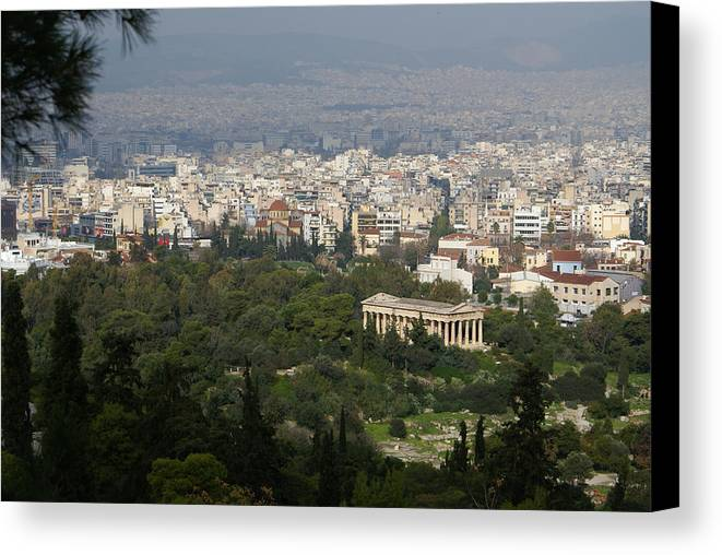 Hill Canvas Print featuring the photograph Acropolis View Of Athens by Gregory Lafferty
