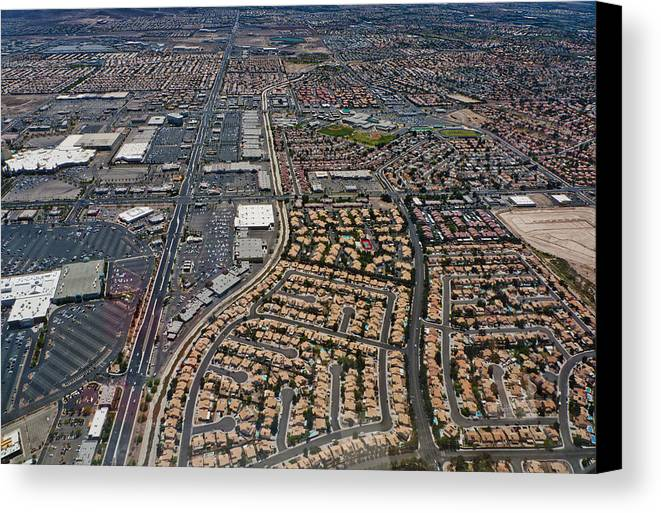 Canvas Print featuring the digital art Arial View Of Las Vegas by Susan Stone