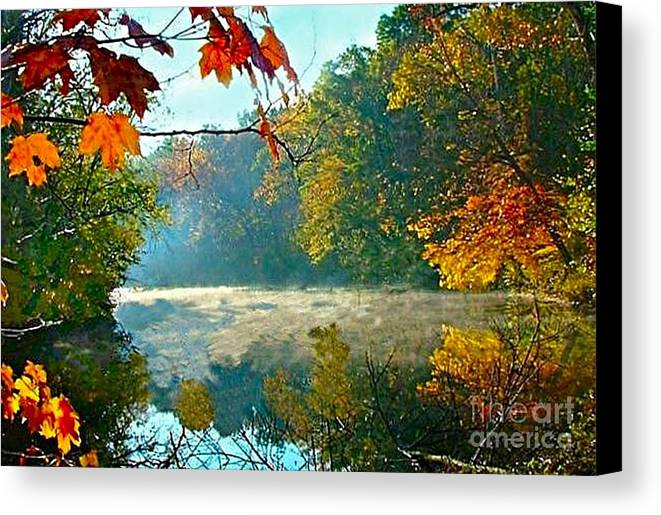 White River Scene Canvas Print featuring the photograph Autumn On The White River I by Julie Dant