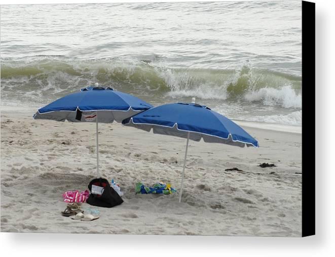 Beach Canvas Print featuring the photograph Beach Umbrells 40 by Joyce StJames